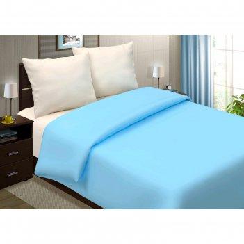 Пододеяльник, размер 180x220 см, поплин, голубой
