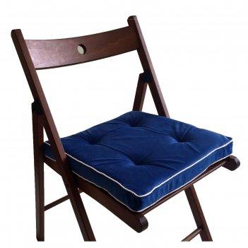 Подушка-сидушка 38х38 см, h 5 см, цв васильковый, велюр, поролон, кант