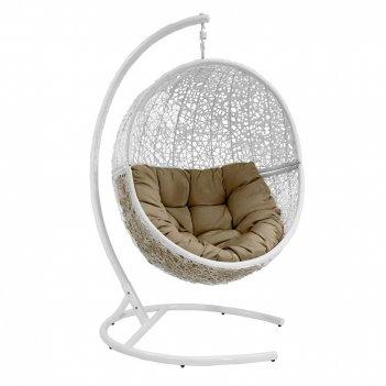 Подвесное кресло lunar white ми (175), каркас белый, подушка темно - бежев