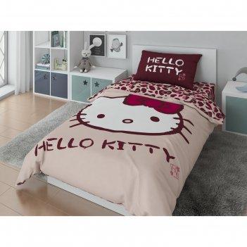 Кпб hello kitty 1,5 сп цвет розовый 148х210, 148х215, 50х70,100% хлопок, п