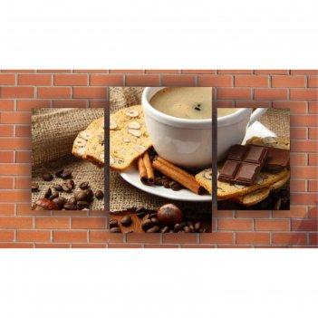Модульная картина на экокоже шоколад, кофе 1шт.-42х60, 2шт.-30х42 см, 106*
