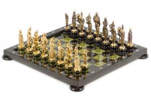 Шахматы русские бронза змеевик 380х380 мм