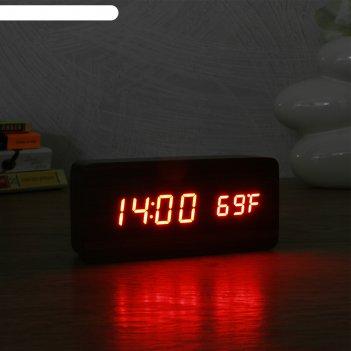 Часы электронные кержан с термометром, настольные, красные цифры, 15х7 см