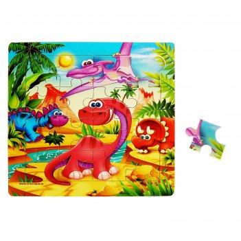 Пазл динозавры , 16 элементов