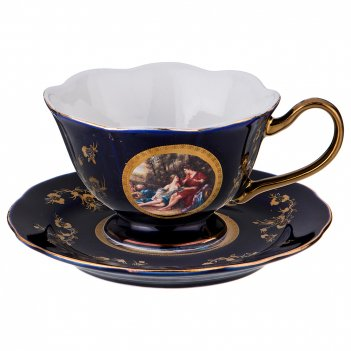 Чайный набор на 1 персону 2 пр. влюбленная пара кобальт 150 мл (кор=24набо