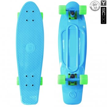 "401-b скейтборд y-scoo fishskateboard 22"" винил 56,6х15 с сумкой blue"