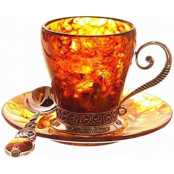 Кофейный набор из янтаря антик на 2 персоны