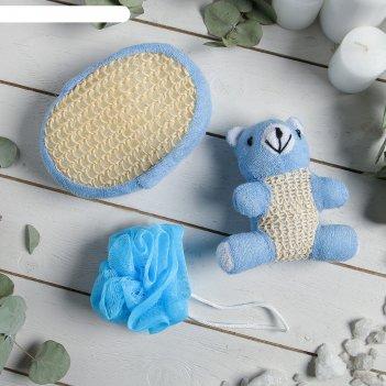 Набор банный 3 предмета (игрушка-мочалка, губка, мочалка), синий
