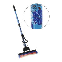 Швабра pva с роликовым отжимом, телескопическая синие цветы