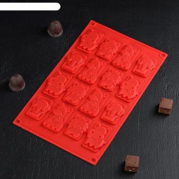 Форма для льда и шоколада животные, 16 ячеек, цвет шоколадный
