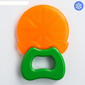 Прорезватель силиконовый «апельсин», на ручке