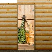 Дверь для бани и сауны веник в бане, 190 х 70 см, с фотопечатью 6 мм добро