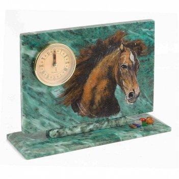Часы конь змеевик 230х80х170 мм 1460 гр.