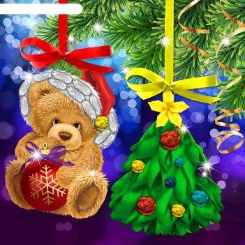 Новый год, вышивка лентами на елочной подвеске мишка и елочка, основа 25*3