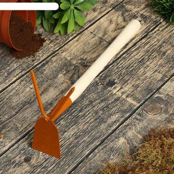 Мотыжка комбинированная, длина 35 см, 2 зубца, деревянная ручка