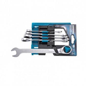 Набор ключей комбинированных трещоточных, количество зубьев 100, сrv, 5 шт