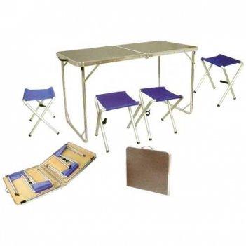 Набор мебели в кейсе 124*62*70см, стол+4 табуретки (алюм, мдф) tramp
