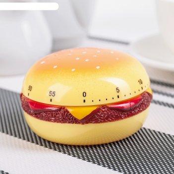 Таймер кухонный гамбургер, механический, цвет микс