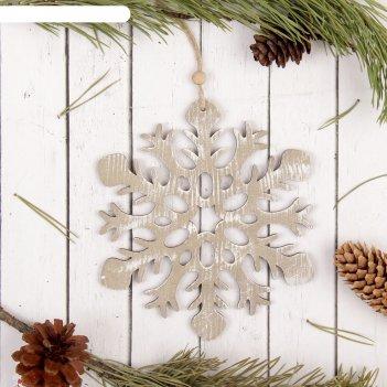 Подвеска новогодняя снежинка дизайнерская, микс
