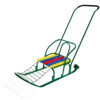 Санки кирюша-7к с толкателем и колесами, цвет зеленый
