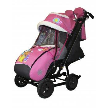 Санки-коляска snow galaxy city-2-1 мишка со звездой на розовом на больших