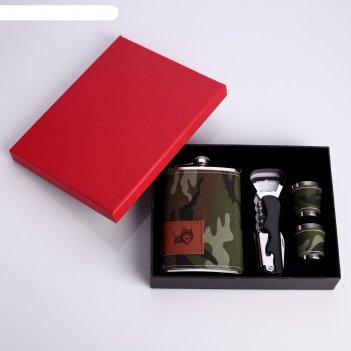 Подарочный набор 4в1 хаки: фляжка 270 мл, нож-открывалка 4в1, 2 рюмки