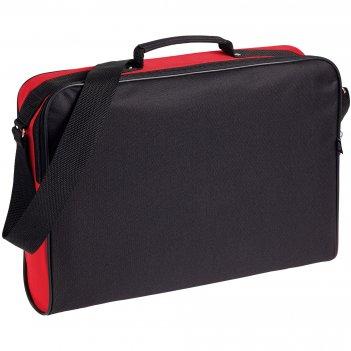 Сумка для документов unit metier, черная с красной отделкой
