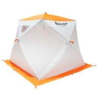 Палатка призма 200 (1-сл) с 2 входами, люкс композит, бело-оранжевая
