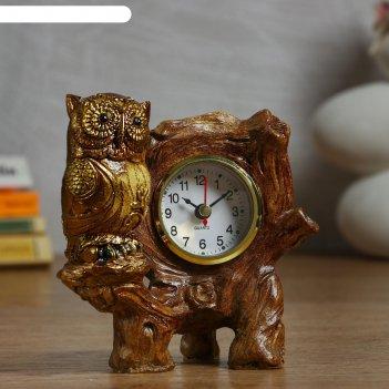 Часы настольные сова на ветке d=5.5 см, 1 аа, дискретный ход