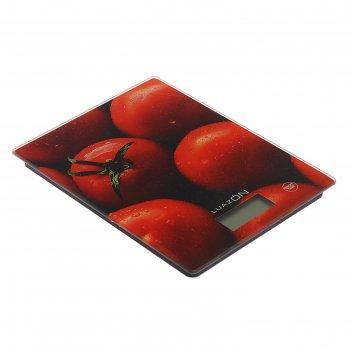 Весы кухонные luazon lvk-702, электронные, до 7 кг, рисунок томаты