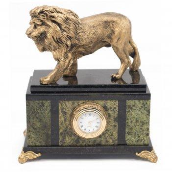 Часы лев змеевик статуэтка мрамолит 175х100х200 мм 2550 гр.