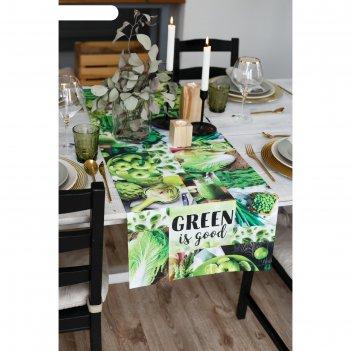 Дорожка на стол этель green 40х146 см, 100% хл, саржа 190 гр/м2