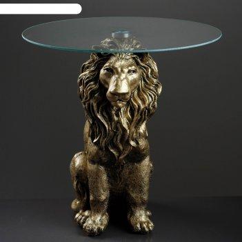 Стол лев сидя, бронза 60см, полистоун