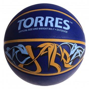 Мяч баскетбольный torres jam, р.7, сине-желто-голубой