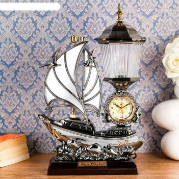 Часы-светильник с будильником корабль с парусами, от 220v