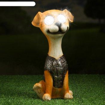 Садовый светильник щенок на солнечной батарее, 24 см