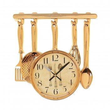 Часы настенные, серия: кухня, столовые приборы 30х33 см, плавный ход