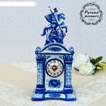 Часы настольные георгий победоносец, гжель, фарфор, 40х20 см