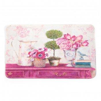 Коврик для дома «натюрморт», 45x80 см, цвет розовый