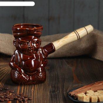 Турка индус 0,4 л, керамическая, с деревянной ручкой