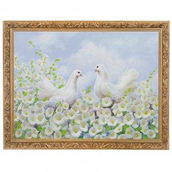 Картина влюбленные голуби багет гипс №4 (30х40 см) si-545