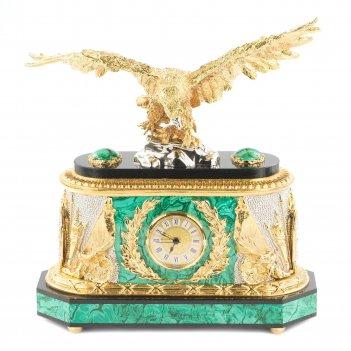 Часы орел малахит позолота 310х155х335 мм