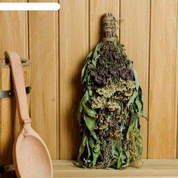 Веник для бани травяной коктейль из букета различных трав, в индивидуально