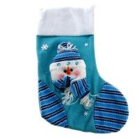 Носок для подарка снеговик в зимний день (в шапочке)