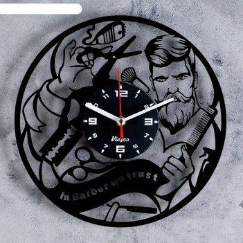 Часы настенные, серия: интерьер: барбершоп, 30х30 см