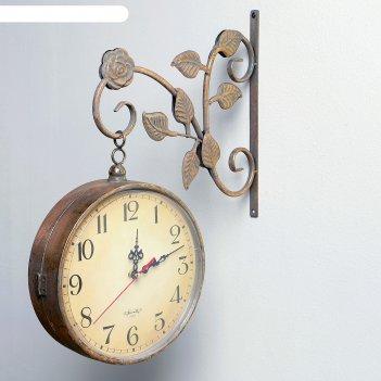 Часы настенные двойные, серия: садовые, финетти, золотые, d=22 см