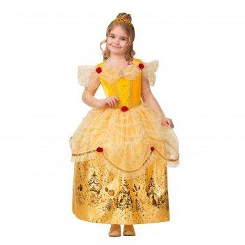 Карнавальный костюм принцесса белль,текстиль-принт,платье,перчатки,брошь,р