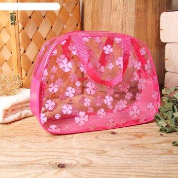 Косметичка-сумка банная клевер, 2 ручки, трапеция, цвет малиновый