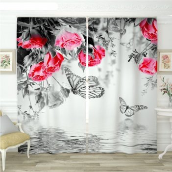Фотошторы «бабочки у воды черно-белые», размер 145 x 260 см,  блэкаут