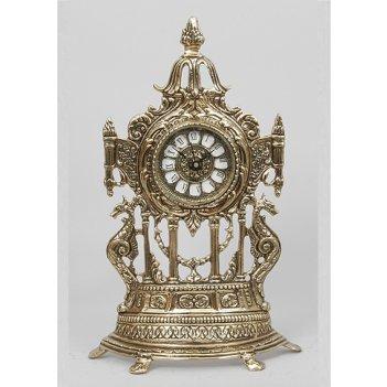 Часы из бронзы половинки с драконами virtus золото 40х24см 5234